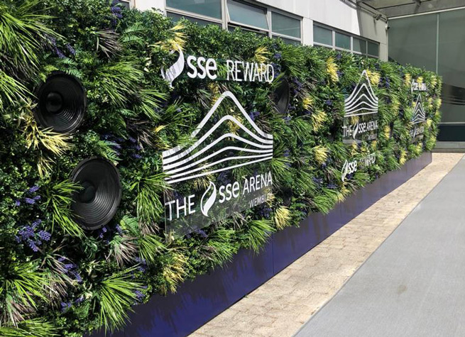 beautiful artificial green wall at sse arena wembley