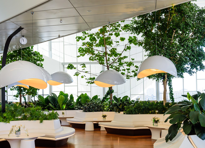 artificial plants in contemporary space