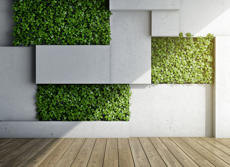 architectural interior green wall with artificial plants
