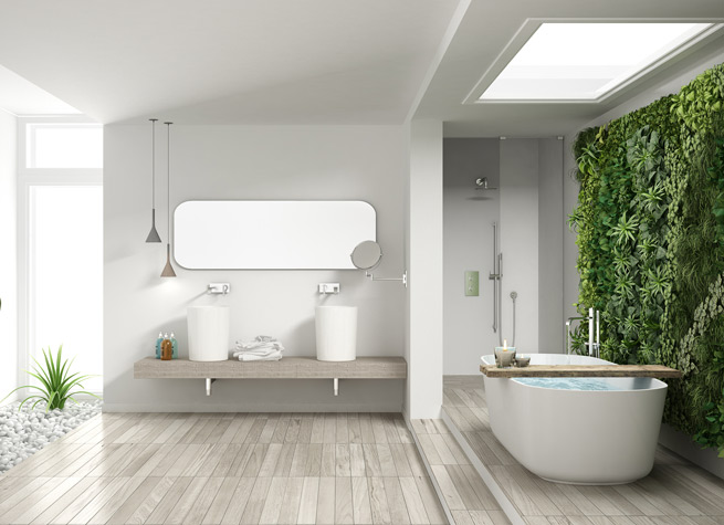 artificial green wall in contemporary bathroom