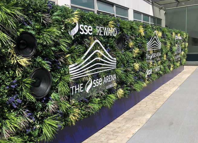 sse arena wembley artificial green wall